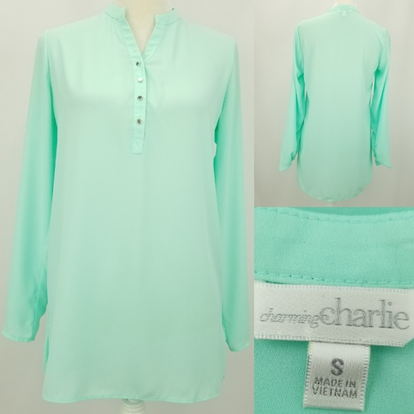 bff262b8b60 Charming Charlie Tops | Mint Green Vneck Tunic Top Small | Poshmark